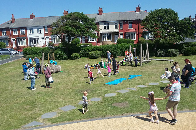 Sunny day activities at Revoe Park
